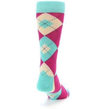 Image of Spa Green Fuchsia Argyle Wedding Groomsmen Men's Dress Socks (side-1-back-20)
