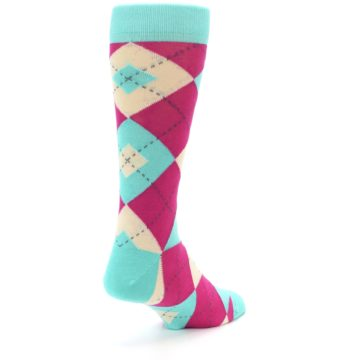 Image of Spa Green Fuchsia Argyle Wedding Groomsmen Men's Dress Socks (side-1-back-21)