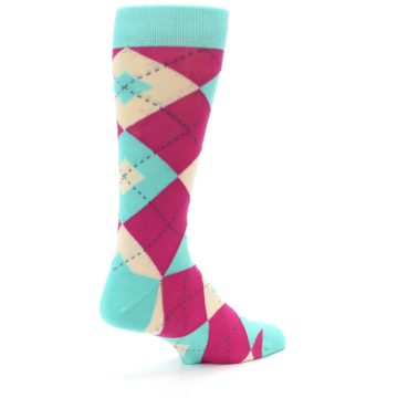 Image of Spa Green Fuchsia Argyle Wedding Groomsmen Men's Dress Socks (side-1-back-22)