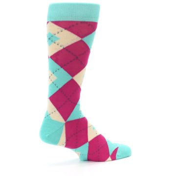 Image of Spa Green Fuchsia Argyle Wedding Groomsmen Men's Dress Socks (side-1-23)
