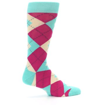 Image of Spa Green Fuchsia Argyle Wedding Groomsmen Men's Dress Socks (side-1-24)