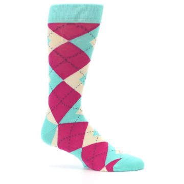 Image of Spa Green Fuchsia Argyle Wedding Groomsmen Men's Dress Socks (side-1-25)