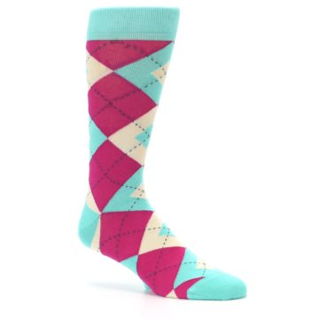 Image of Spa Green Fuchsia Argyle Wedding Groomsmen Men's Dress Socks (side-1-26)