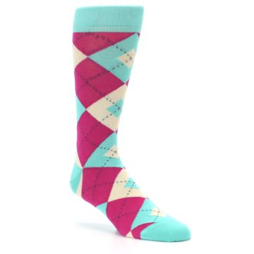 Image of Spa Green Fuchsia Argyle Wedding Groomsmen Men's Dress Socks (side-1-27)