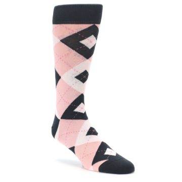 Petal Pink Argyle Wedding Socks