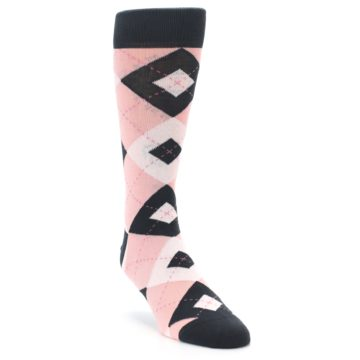 Image of Petal Pink Blush Blossom Dark Gray Argyle Wedding Groomsmen Men's Dress Socks (side-1-front-02)