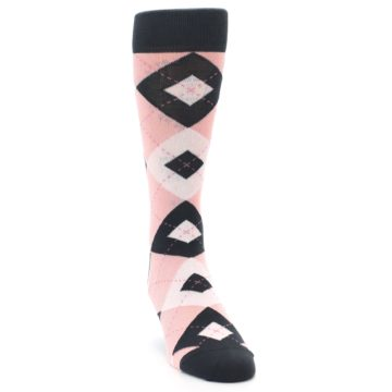 Image of Petal Pink Blush Blossom Dark Gray Argyle Wedding Groomsmen Men's Dress Socks (side-1-front-03)