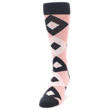 Image of Petal Pink Blush Blossom Dark Gray Argyle Wedding Groomsmen Men's Dress Socks (side-2-front-06)