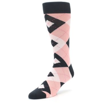 Image of Petal Pink Blush Blossom Dark Gray Argyle Wedding Groomsmen Men's Dress Socks (side-2-front-08)
