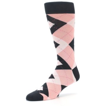 Image of Petal Pink Blush Blossom Dark Gray Argyle Wedding Groomsmen Men's Dress Socks (side-2-09)