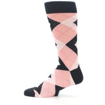 Image of Petal Pink Blush Blossom Dark Gray Argyle Wedding Groomsmen Men's Dress Socks (side-2-12)