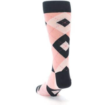 Image of Petal Pink Blush Blossom Dark Gray Argyle Wedding Groomsmen Men's Dress Socks (side-2-back-16)