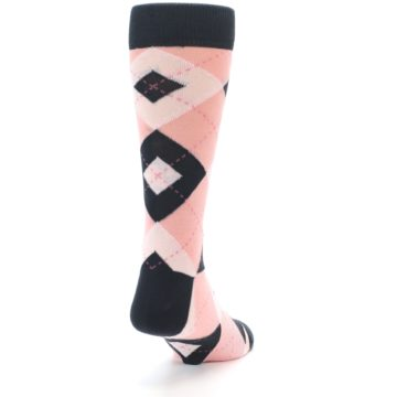 Image of Petal Pink Blush Blossom Dark Gray Argyle Wedding Groomsmen Men's Dress Socks (side-1-back-20)