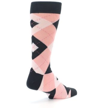 Image of Petal Pink Blush Blossom Dark Gray Argyle Wedding Groomsmen Men's Dress Socks (side-1-back-22)
