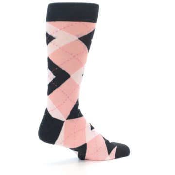 Image of Petal Pink Blush Blossom Dark Gray Argyle Wedding Groomsmen Men's Dress Socks (side-1-23)