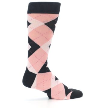 Image of Petal Pink Blush Blossom Dark Gray Argyle Wedding Groomsmen Men's Dress Socks (side-1-24)
