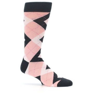Image of Petal Pink Blush Blossom Dark Gray Argyle Wedding Groomsmen Men's Dress Socks (side-1-25)
