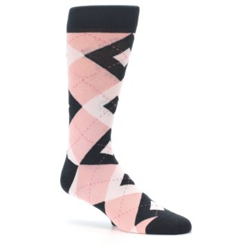 Image of Petal Pink Blush Blossom Dark Gray Argyle Wedding Groomsmen Men's Dress Socks (side-1-26)
