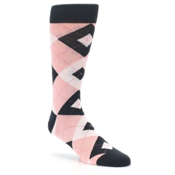 Image of Petal Pink Blush Blossom Dark Gray Argyle Wedding Groomsmen Men's Dress Socks (side-1-27)