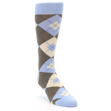 Image of Light Blue Brown Argyle Men's Dress Socks (side-1-front-02)