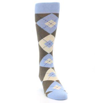 Image of Light Blue Brown Argyle Men's Dress Socks (side-1-front-03)