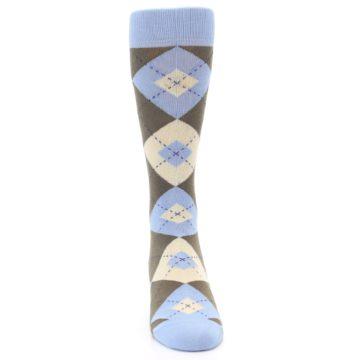 Image of Light Blue Brown Argyle Men's Dress Socks (front-04)