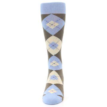 Image of Light Blue Brown Argyle Men's Dress Socks (front-05)
