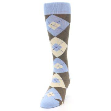 Image of Light Blue Brown Argyle Men's Dress Socks (side-2-front-06)