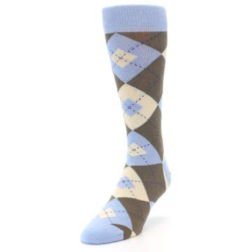 Image of Light Blue Brown Argyle Men's Dress Socks (side-2-front-07)