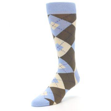 Image of Light Blue Brown Argyle Men's Dress Socks (side-2-front-08)