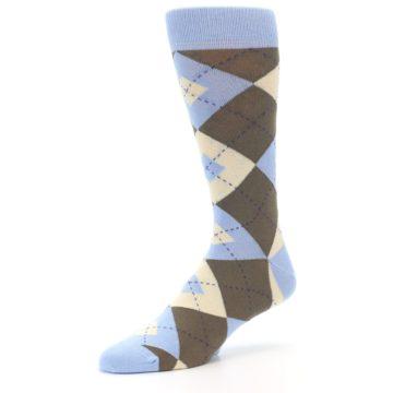 Image of Light Blue Brown Argyle Men's Dress Socks (side-2-09)