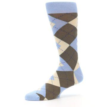 Image of Light Blue Brown Argyle Men's Dress Socks (side-2-10)