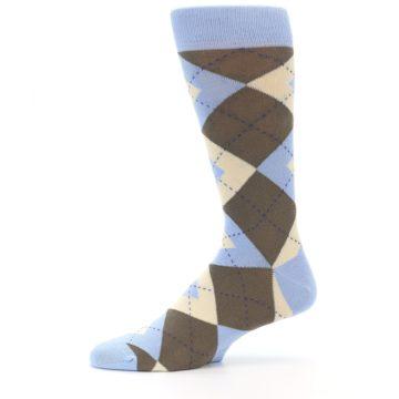 Image of Light Blue Brown Argyle Men's Dress Socks (side-2-11)