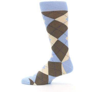 Image of Light Blue Brown Argyle Men's Dress Socks (side-2-12)
