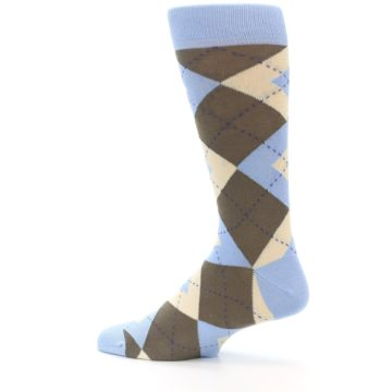 Image of Light Blue Brown Argyle Men's Dress Socks (side-2-13)