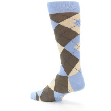 Image of Light Blue Brown Argyle Men's Dress Socks (side-2-back-14)