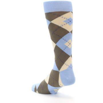Image of Light Blue Brown Argyle Men's Dress Socks (side-2-back-15)