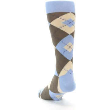 Image of Light Blue Brown Argyle Men's Dress Socks (side-2-back-16)