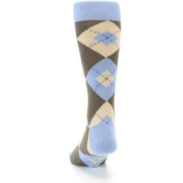 Image of Light Blue Brown Argyle Men's Dress Socks (back-17)