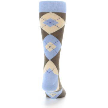 Image of Light Blue Brown Argyle Men's Dress Socks (back-19)