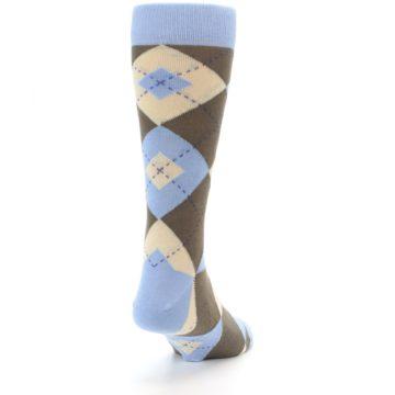 Image of Light Blue Brown Argyle Men's Dress Socks (side-1-back-20)
