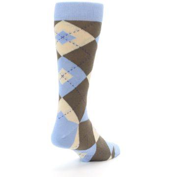 Image of Light Blue Brown Argyle Men's Dress Socks (side-1-back-21)