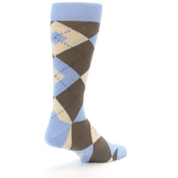 Image of Light Blue Brown Argyle Men's Dress Socks (side-1-back-22)