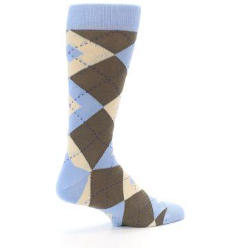 Image of Light Blue Brown Argyle Men's Dress Socks (side-1-23)
