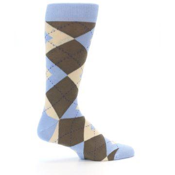 Image of Light Blue Brown Argyle Men's Dress Socks (side-1-24)