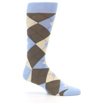 Image of Light Blue Brown Argyle Men's Dress Socks (side-1-25)