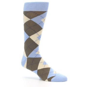 Image of Light Blue Brown Argyle Men's Dress Socks (side-1-26)