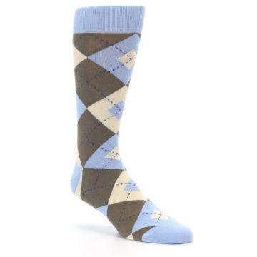 Image of Light Blue Brown Argyle Men's Dress Socks (side-1-27)