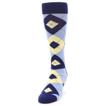 Image of Light Blue Navy Canary Argyle Men's Dress Socks (side-2-front-06)