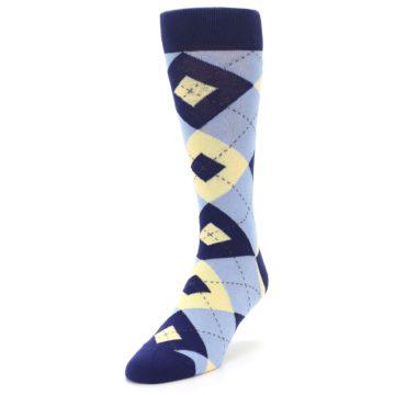 Image of Light Blue Navy Canary Argyle Men's Dress Socks (side-2-front-07)